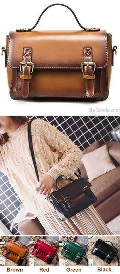 Retro Brown Glossy Flap Magnetic Metal Button Handbag PU Messenger Bag Shoulder Bag for big sale! #magnetic #bag #brown #glossy