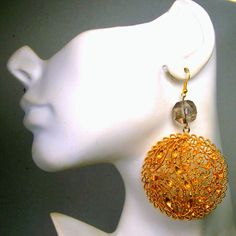 Filigree Gold Long Earrings My Design Big and by VintageStarrBeads