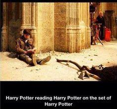 We heard you like Harry Potter so here's a picture on a Harry Potter Pinboard of Harry Potter reading Harry Potter on the set of Harry Potter. Harry Potter.