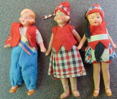 "3 German Painted Bisque Dollhouse Dolls 3"" All Original Clothes Hertwig NR CUTE!"