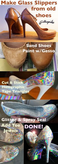 Silkspike Dolls Picture Tutorial - Making Cinderella's glass slippers for a Panto stage prop - inspired by a You Tube video by Mark Montano.