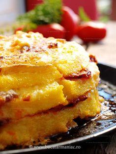 Mamaliga la cuptor cu carnat si brie (love this stuff! Hungarian Recipes, Romanian Recipes, Hungarian Food, My Favorite Food, Favorite Recipes, European Cuisine, Good Food, Yummy Food, Dinner Side Dishes