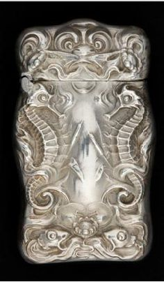 An Unger Brothers silver vesta case featuring seahorses - c.1900.