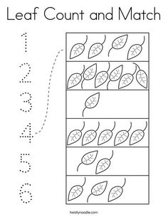 Leaf Count and Match Coloring Page - Twisty Noodle