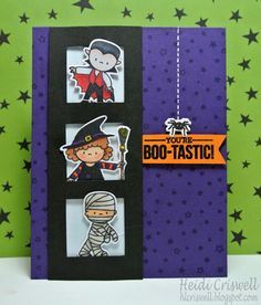 Halloween card using the Bootastic stamp set by #MamaElephant Crafty Time 4U
