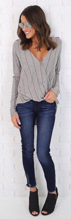 Grey Knit / Navy Skinny Jeans / Black Open Toe Booties