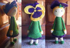 Violet Vicky flower doll made by Barbara G - crochet pattern by Zabbez