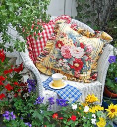 Sitting in the garden ~ cottage garden ideas and home decor by My Painted Garden Dream Garden, Garden Art, Garden Design, Garden Cottage, Outdoor Rooms, Outdoor Gardens, Outdoor Decor, Beautiful Gardens, Beautiful Flowers