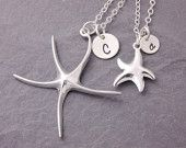 Mother Daughter Necklace - starfish necklace, matching necklace, pair necklace, mother necklace, mom necklace, initial necklace, beach, N10