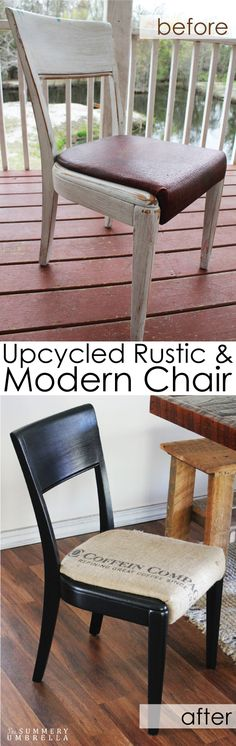 What You'll Want To Hunt For In A Very Do-it-yourself Dwelling Energy Audit Turn An Ordinary Chair Into An Upcycled Rustic And Modern Chair Marvel Diy Furniture On A Budget, Diy Furniture Projects, Chalk Paint Furniture, Furniture Makeover, Diy Projects, Upcycled Home Decor, Repurposed Items, Rustic Decor, Rustic Chair