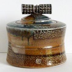 Saltglazed 'Knot' Jar £75. Size:11h x 12w centimetres