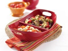 Serveware Divided Dish (14-in.): Red by Rachael Ray