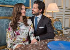 Photos of Prince Carl Philip and Sofia Hellqvist taken for an interview to be broadcast before their wedding on June 13, 2015
