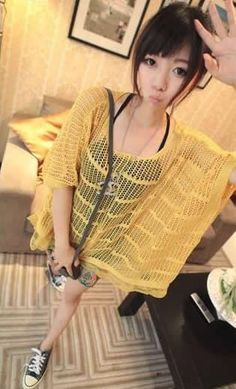 Lace Splicing Ladies Half Sleeve Round Neck Yellow Knitting Sweater One Size @YIF11445y