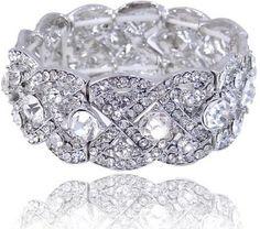 Charm EVER FAITH Wedding Silver-Tone Art Deco Elastic Stretch Bracelet Clear Austrian Crystal