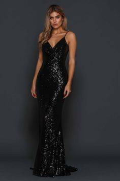 Elle Zeitoune – Madden Black Sequin Gown