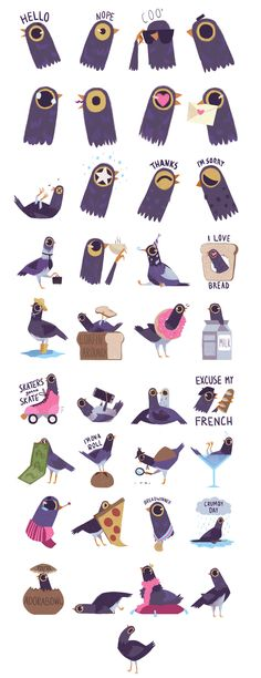 Trash Doves iOS10 Sticker Pack on Behance  Syd Weiler