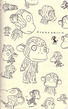 Mozzarella the Monkey - character by Taro Gomi that inspired these sketches by Enrico Casarosa
