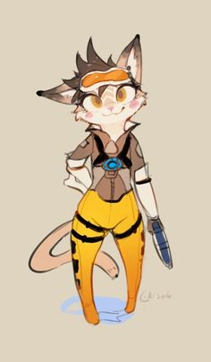 #Overwatch tracer féline #Dessin #Fanart de likihouse Combination of overwatch character and cat x3
