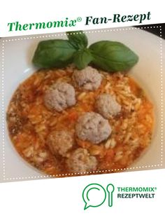 Tomaten-Reis-Eintopf mit Hackfleischklößchen Tomato rice stew with minced meatballs from R. A Thermomix ® recipe from the Soups category www.de, the Thermomix® Community. Casserole Dishes, Casserole Recipes, Soup Recipes, Chicken Broth Can, A Food, Food And Drink, Tomato Rice, Bowl Of Soup, All Vegetables