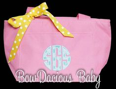 Personalized Lunch Bag Monogrammed Lunch Tote by bowdaciousbaby