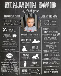 Multi-Size - Customized Year One Infographic - Baby's First Year, Birthday Gift, 1st Year Photo, Statistics, Milestones, Scrapbook, Collage
