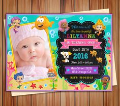 Bubble Guppies party photo invitation for Girl Bubble Guppies