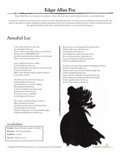 "Worksheets: Edgar Allan Poe: ""Annabel Lee"". Introduce your student to a famous writer and poet: Edgar Allan Poe! His poem ""Annabel Lee"" is full of haunting imagery and symbols. Students must decipher the meaning of this famous poem and write a paragraph about its theme."