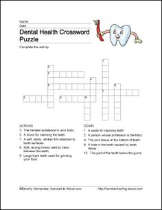 Dental Health Crossword Puzzle