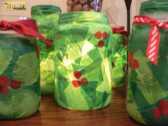 mason jar holly luminaries