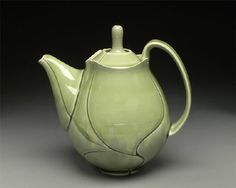 Artist: Jeff Campana, Title: Green Leaf Teapot - click to go back to previous page