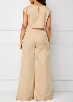 Cap Sleeve Light Khaki Top and Pocket Pants Chic Outfits, Fashion Outfits, Womens Fashion, African Fashion Designers, Jumpsuit Outfit, Japanese Street Fashion, African Wear, Two Piece Outfit, Jumpsuits For Women