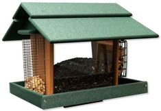 Recycled Poly Classic Deluxe Bird Feeder There's room for 10 pounds of seed in this beauty, including special compartments for suet cakes and peanuts. Made with recycled plastic. Ultra durable. #birdfeeder