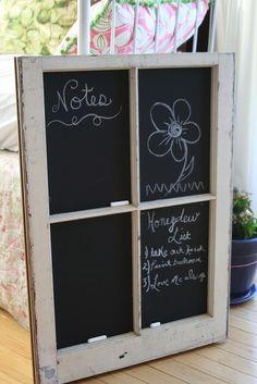 Window frame chalk board.  How cute is that....window is waiting in the basement.