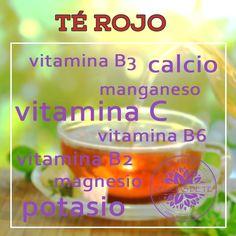 5 tipos de té y sus beneficios para la salud. Infografía Té Rojo Pu Erh. Vitaminas y Minerales.