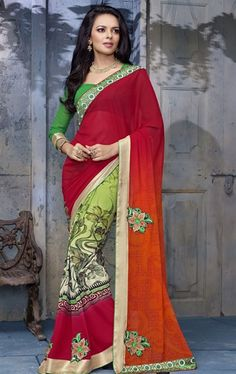 Picture of Deep Pink and Deep Orange Color Saree With Beautiful Printed Pallu