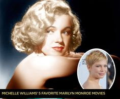 """In preparation for portraying Marilyn Monroe, Michelle Williams did her homework. She watched the icon's movies, sought out obscure You Tube videos, and pored over the star's notebooks, poetry, doodles, and letters -- even thank-you notes! Here are her five favorite Monroe films -- and while they're not all masterpieces, each one shows why Monroe's reputation as an actress and sex symbol has survived long after her death -- a """"probable suicide"""" -- at 36 in 1962 [her choices on individual pins]"""