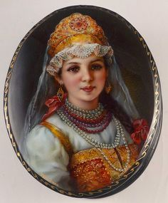 "Fedoskino Russian Lacquer Box Titled  ""Merchant's Daughter"" Signed by Mikeev 