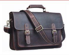 g handmade crazy horse leather briefcase messenger bag