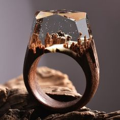 Tiny Snow Forest - wow,Wood Forms - Designs - schmuck - The Epoxy Diy Jewelry Rings, Resin Jewelry, Cute Jewelry, Unique Jewelry, Jewelery, Jewelry Accessories, Jewelry Design, Jewelry Making, Silver Jewelry