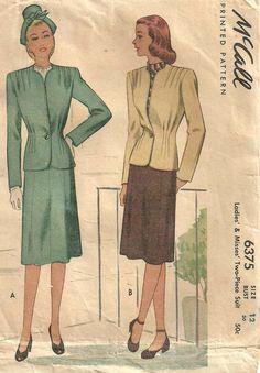 Cartamodello McCall 40s 6375 / Vintage / vestito giacca gonna / taglia 12 di studioGpatterns su Etsy https://www.etsy.com/it/listing/173952925/cartamodello-mccall-40s-6375-vintage