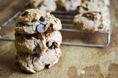 Peanut Butter Banana Chocolate Chip Cookies | grain-free, gluten-free, egg-free, dairy-free, refined sugar-free | RaiasRecipes.com