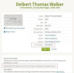 Ancestry research help: Locating original genealogy records, index listing of D. T. Walker's marriage record