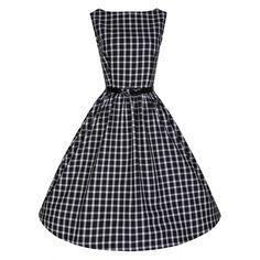 Audrey Black Window Check Dress   Vintage Inspired Fashion - Lindy Bop