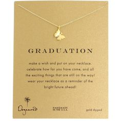 Dogeared Graduation Necklace 16 Necklace ($58) ❤ liked on Polyvore featuring jewelry, necklaces, charm pendant necklace, charm pendant, chain necklace, butterfly charm and pendants & necklaces