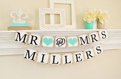 Your place to buy and sell all things handmade Wedding Signs, Wedding Table, Wedding Banners, Teal Wedding Decorations, Decor Wedding, Hanging Banner, Table Signs, Light Teal, Black Letter