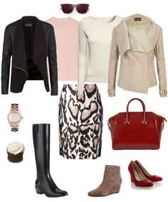 Ensemble: Pencil Skirt & Leather Jacket at the Office