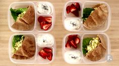 Get Protein Lunch Box Recipe from Food Network Protein, fiber, healthy fats and whole grains come together for the perfect lunch! Chia seeds are a nice twist on top of the typical cup of yogurt and they're an excellent source of and belly-filling fiber. Healthy Meal Prep, Healthy Snacks, Healthy Eating, Healthy Fats, Healthy Lunch Boxes, High Protein Meal Prep, Food Network Recipes, Cooking Recipes, Protein Lunch