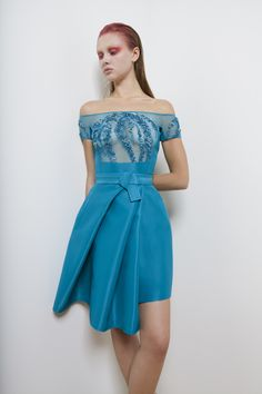 short dress embroidery fashion style blue ready to wear photography spring summer