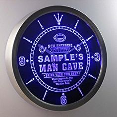 Personalized Custom Man Cave Football Bar Beer Neon Sign LED Wall Clock